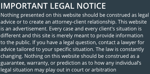 IMPORTANT LEGAL NOTICE